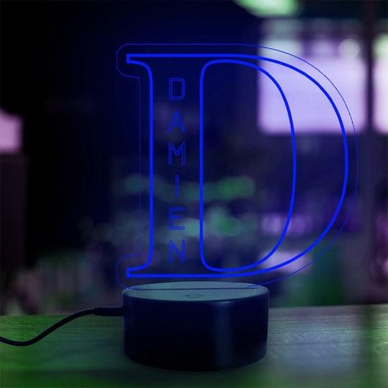 Lampe prénom personnalisée Alphabet lettre D