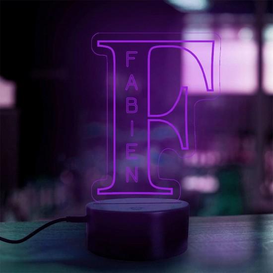 Lampe prénom personnalisée Alphabet lettre F