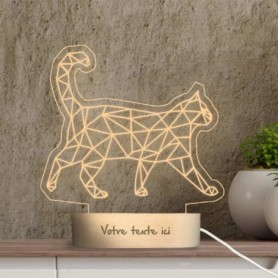 Lampe photo 3D CHAT en plexiglass avec socle ovale en bois personnalisable