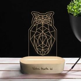 Lampe photo 3D HIBOU en plexiglass avec socle ovale en bois personnalisable