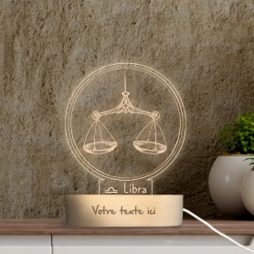 Lampe photo 3D SIGNE BALANCE en plexiglass avec socle ovale en bois personnalisable