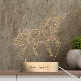 Lampe photo 3D LICORNE en plexiglass avec socle ovale en bois personnalisable