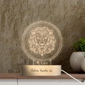 Lampe photo 3D SIGNE LION en plexiglass avec socle ovale en bois personnalisable