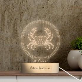 Lampe photo 3D SIGNE CANCER en plexiglass avec socle ovale en bois personnalisable
