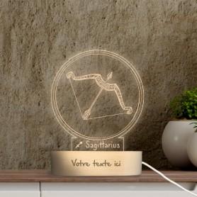 Lampe photo 3D SIGNE SAGITTAIRE en plexiglass avec socle ovale en bois personnalisable