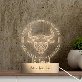 Lampe photo 3D SIGNE TAUREAU en plexiglass avec socle ovale en bois personnalisable
