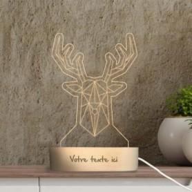 Lampe photo 3D CERF en plexiglass avec socle ovale en bois personnalisable
