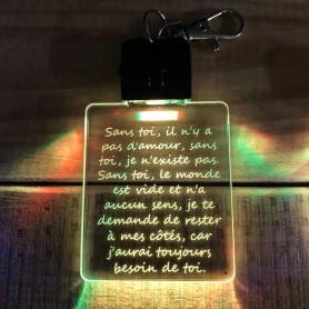 Porte-clé personnalisable TEXTE lumineux RGB rectangulaire