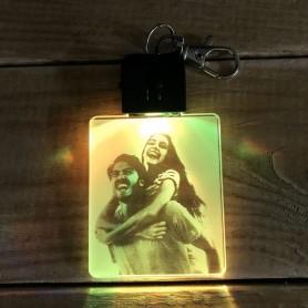 Porte-clé personnalisable PHOTO lumineux RGB rectangulaire