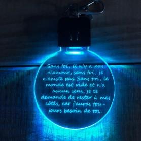 Porte-clé personnalisable TEXTE lumineux RGB rond