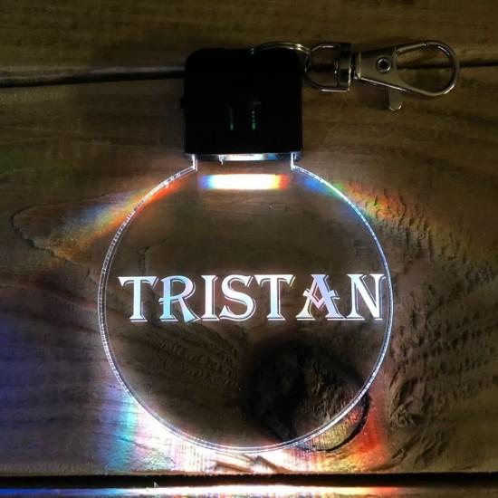 Porte-clé personnalisable PRENOM lumineux RGB rond
