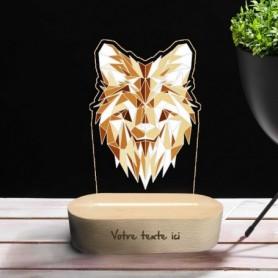 Lampe photo 3D LOUP en plexiglass avec socle ovale en bois personnalisable