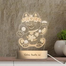 Lampe photo 3D MANEKI NEKO en plexiglass avec socle ovale en bois personnalisable
