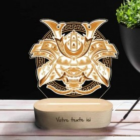 Lampe photo 3D MASQUE DEMON en plexiglass avec socle ovale en bois personnalisable