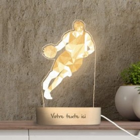 Lampe photo 3D BASKET en plexiglass avec socle ovale en bois personnalisable