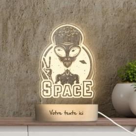 Lampe photo 3D ALIEN en plexiglass avec socle ovale en bois personnalisable