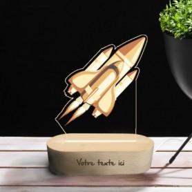 Lampe photo 3D FUSEE en plexiglass avec socle ovale en bois personnalisable