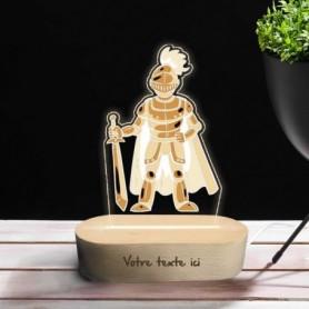 Lampe photo 3D CHEVALIER en plexiglass avec socle ovale en bois personnalisable
