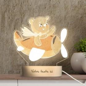 Lampe photo 3D OURS EN PELUCHE en plexiglass avec socle ovale en bois personnalisable