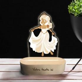 Lampe photo 3D PRINCESSE en plexiglass avec socle ovale en bois personnalisable