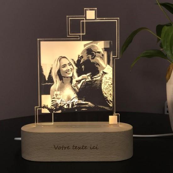 Lampe photo CARRE personnalisable sur socle ovale en bois