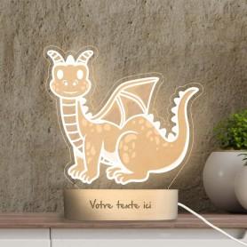 Lampe photo 3D DRAGON en plexiglass avec socle ovale en bois personnalisable