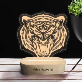 Lampe photo 3D TIGRE en plexiglass avec socle ovale en bois personnalisable