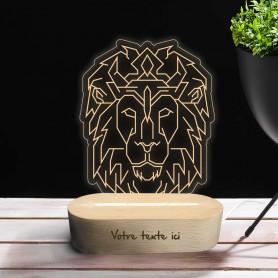 Lampe photo 3D LION en plexiglass avec socle ovale en bois personnalisable